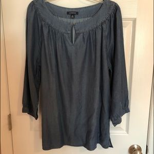 Lands' End womens chambray tunic top 3/4 sleeve